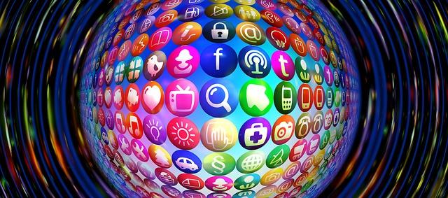 Loga internetových aplikací v kouli